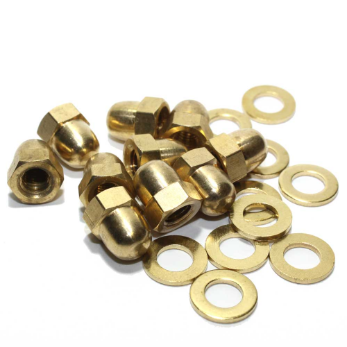 M5 Solid Brass Hex Dome Nut c/w Washer Pack of 10 of Each